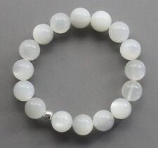 Mondstein-Armband - weiße Mondstein Kugeln 12 mm aus Indien  auf Schmuckgummi