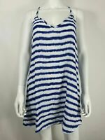 New Look Casual Summer Top sz M Blue & White Stripe Racer Back Strappy
