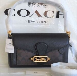 NWT Coach Signature Jade in Brown Black Shoulder Crossbody Bag F90782