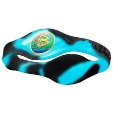Authentic Power Balance Silicone Wristband - Swirl Aqua Blue/Black - Small
