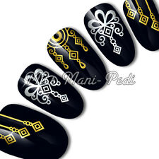 Nail Art Water Slide Transfers Stickers Decals Tribal Ethnic Gold/Silver C070