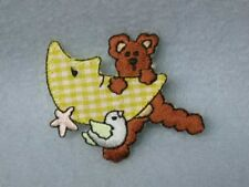 Bear Bird Moon Embroidered Iron On Patch Applique