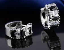 Platinum Plated Black White Cubic Zirconia Crystal Earrings  (E798-39)