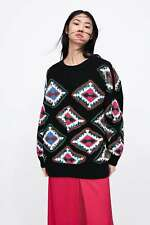ZARA  KNIT SWEATER WITH GEOMETRIC EMBROIDERY SIZE M BNWT cost£79