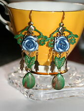 Enchanted Silver Rose chandeleir leaf flower  vintage glass artisan earrings