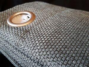 THERMAL BLACKOUT CURTAINS GREEN GREY Basket Weave Rich Textured Design Eyelet