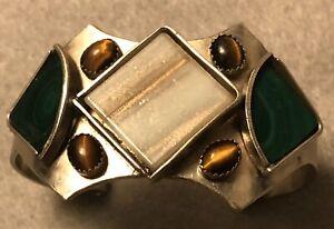 Tiger's Eye Cat's-Eye Sapphire Quartz/Gold Green Gemstone Stainless Bracelet Art