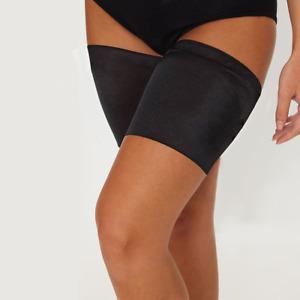 Black Pair Anti Chafing Thigh Bands Elastic Non Slip Leg Comfort Running Sports