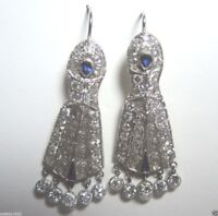 Antique Art Deco Vintage Diamond Earrings Platinum EGL USA Fine Jewelry Estate