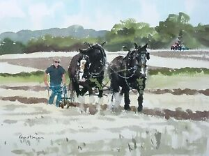 697 Earth Movers - Horses Ploughing Match Watercolour Painting Ken Hayes