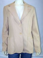 Vintage tan Brown coat double Button Lined Women's Blazer Jacket size Medium 6 8