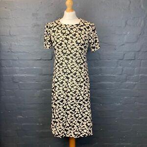 Vintage Hand Made Ditsy Floral 1990s Grunge Shift Dress Size 10/12 Zip Back