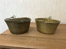 2 Vintage Quality Solid Brass Mesh Storage Floristry?? Baskets with Handles VGC