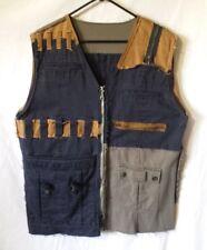 Ooak Blue Brown Green Denim Jean Grunge Distressed Patchwork Cargo Vest Men's L