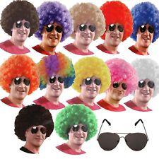 AFRO WIG + AVIATOR SUNGLASSES Mens Ladies curly clown fancy dress 1970s 70s 60s