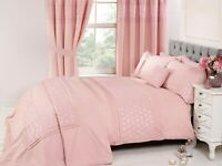 "Rapport ""Everdean"" Embroidered Floral Duvet Cover Bedding Set Pink"