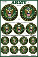 13 US Army Emblem Decal Stickers. Laminated, High Quality, Various Sizes.