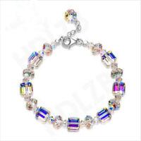 925 Silver Mystic Rainbow Topaz Bracelet Exquisite Bangle Suit Women Jewelry