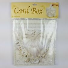 "12"" x 12"" Card Box w/ Slot Heart Pillow Design White Wedding Money Box Beistle"
