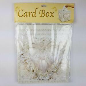 "12"" x 12"" Card Box w/ Slot Heart Pillow Design White Wedding Money Box Beistle"