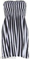 LADIES SUMMER BOOBTUBE BANDEAU SHORT STRAPLESS PRINTED TOP DRESS SIZE 8-22