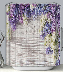 """Lavender Flower Rustic Wood SHOWER CURTAIN 70"""" Fabric w/Hooks Primitive Country"""