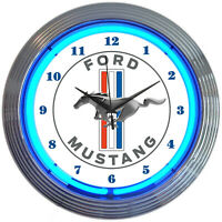 Neon clock Ford Mustang blue sign wall lamp light 5.0 GT Fastback V8 2021 Shelby