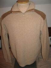 Mens 1960s or 70s Old Vintage 100% Acrylic & Suede Size 42-44 Sz L Sweater Nice