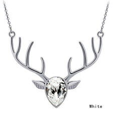 BIG STAG HEAD SKULL antler LONG NECKLACE gold plated GOTH PUNK deer antlers FINE