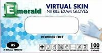 200 (2 Boxes) Emerald Virtual Skin Nitrile Powder Free 4 Mil Exam Gloves SIZE XL