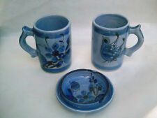 3-Pc Set of Mexico JJC Hand-Crafted Painted 2 Bird Coffee Cups / Mugs & Ash Tray