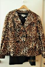 New Le Suit Chic Leopard Jacket & Black Skirt Silky Polyester Plus 24W Stunning!