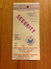 1972 Democratic National Convention SECURITY Pass Credential George McGovern
