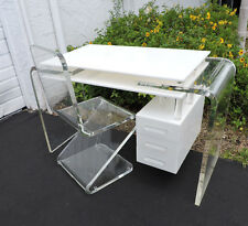 Mid Century Lucite Acrylic Plexiglass Desk Vanity Table with  Z Shape Chair 8436