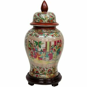 "Oriental Furniture 18"" Rose Medallion Porcelain Temple Jar"