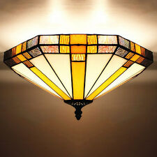 Big Flush Mount Stained Glass Geometric Ceiling Light Tiffany Style Ceiling Lamp