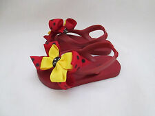 HANDMADE GIRLS MICKEY MOUSE DISNEY SANDALS RED YELLOW BOWS USED SHOES  SIZE 7