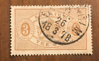 SWEDEN #O1 Stamp Used H 1874...SCV $42.50 I Combine Shipping