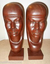 2 Matching Hand Carved Wood Female Sculptures Woodcraft from Bolivia ~ J Ramirez