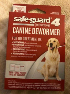 NEW Safe-Guard 4 Canine De-Wormer for Large Dogs, 3 day treatment 40 lbs SEALED