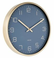 Karlsson ELEGANCE WALL CLOCK GOLD Case BLUE Face 30cm diam
