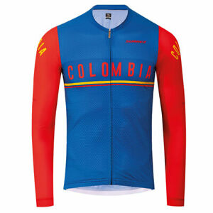 2020 Suarez Colombian Collection​: Men's Long Sleeve Cycling Jersey in Blue