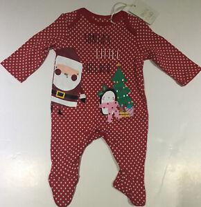 Boots Mini Club Father Christmas Santa's Little Helper Red Sleep Suit Baby Grow