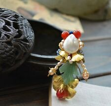 Oriental classic style handmade agate goldfish brooch