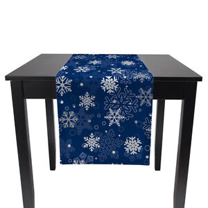 """Winter Blue Snowflakes Table Runners - 12"""" x 72"""" or 14"""" x 108"""""""