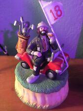 Emmett Kelly Clown Golf Club 18 Hole Music Box Flambro Cart Figurine Hobo