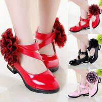 Toddler Infant Kids Girls Flower Leather Shoes Single Princess Shoes Sandals