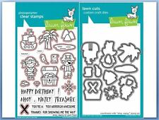 Lawn Fawn Photopolymer Clear Stamp & Die Combo ~ AHOY, MATEY Pirate ~LF1411,1412
