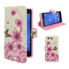 CASE FOR SONY XPERIA Z3 MINI WHITE PINK SWIRL FLOWER BUTTERFLY PU LEATHER WALLET