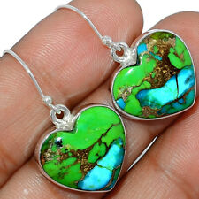 Heart - Blue Turquoise In Green Mohave 925 Silver Earring Jewelry AE163852